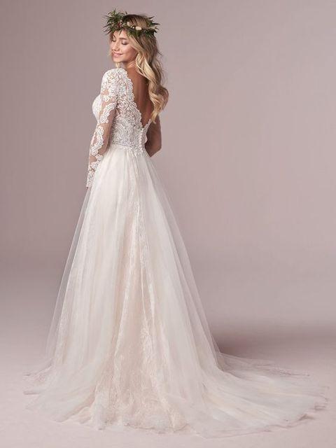 A Line Long Sleeve Bridal Dresses Wedding Dress 2020 Tulle Lace Long Ivory Vestido De Novia Open Back свадебное платье Plus Size 3