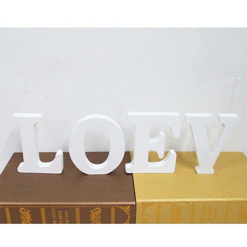 אהבת חתונה מילת האלפבית מסיבת ילדים אבזרי Mariage שלט עץ האהבה יום צילום קישוטי נישואים לבן DIY