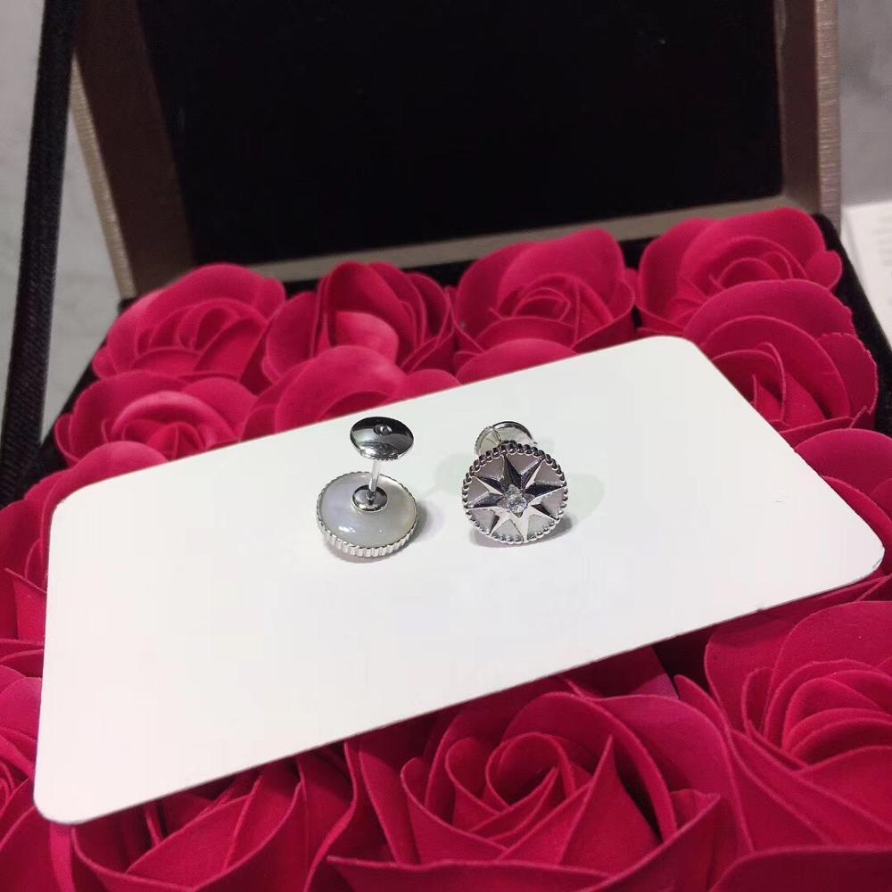 Luxueux romantique boussole boucles d'oreilles étincelant huit étoiles boucle d'oreille pour femmes dames pur 925-Sterling-argent célèbre bijoux - 4