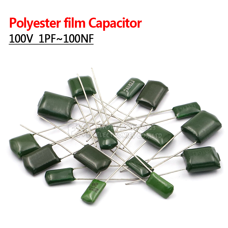 50pcs Polyester Film Capacitor 100V 1nF 1.5nF 2.2nF 100nF 2A471J 2A102J 2A152J 2A222J 2A392J 2A332J 2A472J 2A103J 2A473J 2A104J