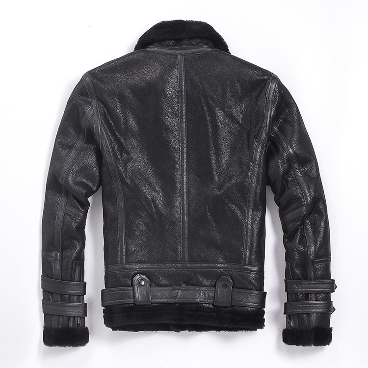 Mens Leather Jacket Winter Sheepskin Coat Short Genuine Leather Motorcycle Sheep Shearling Jacket For Men Wool Lining