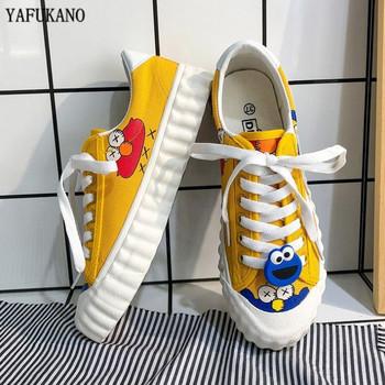 2020 nowych kobiet przypadkowych butów INS moda nowa kobieta żółta animacja kreskówka wulkanizowane trampki zasznurować brezentowych butów kobieta tanie i dobre opinie YAFUKANO PŁÓTNO CN (pochodzenie) Z elementami naszywanymi Stałe Mesh Fabric Na wiosnę jesień Niska (1 cm-3 cm) Sznurowane