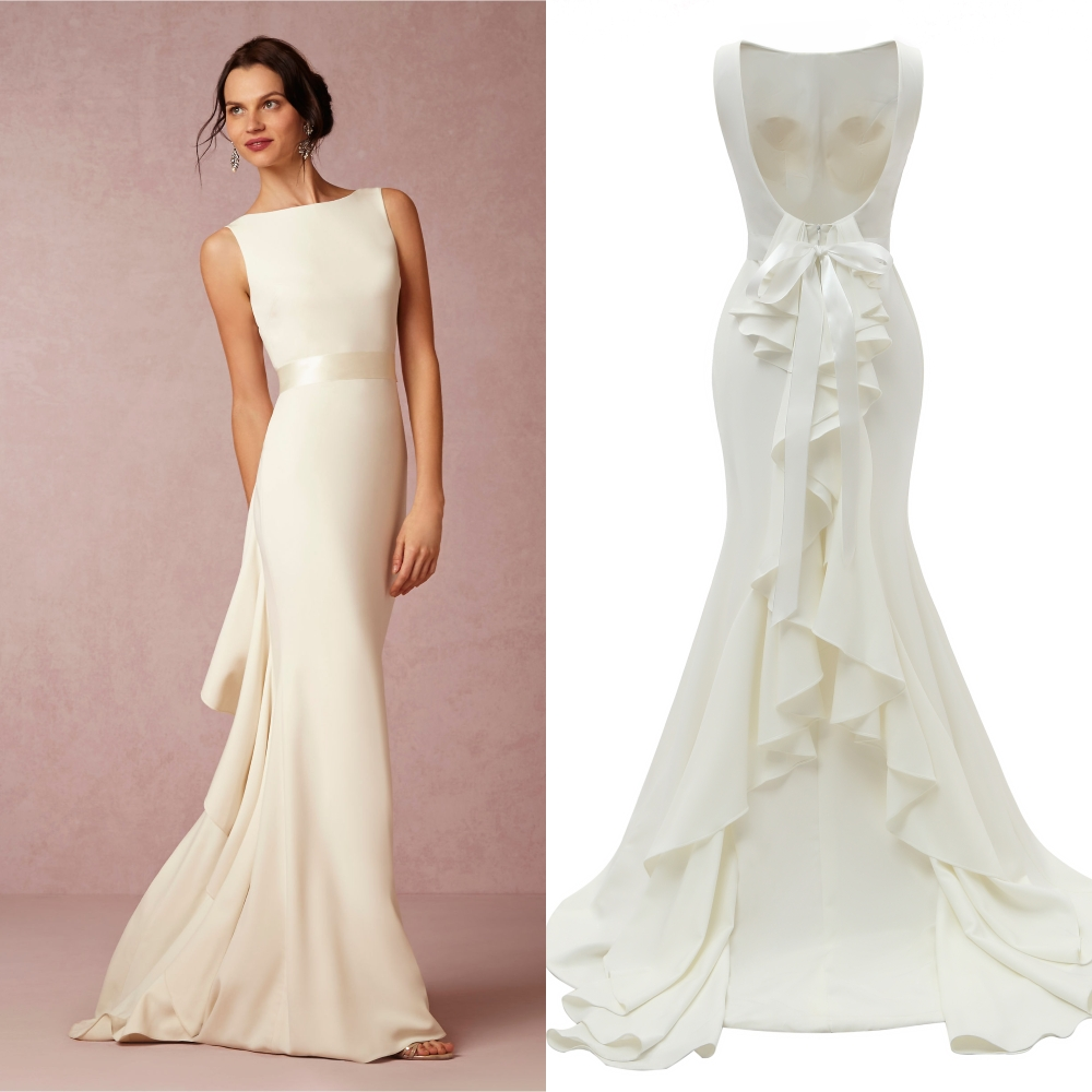 Boat Neck Backless Fuffles Plain Satin Simple Wedding Dress Bridal Gown