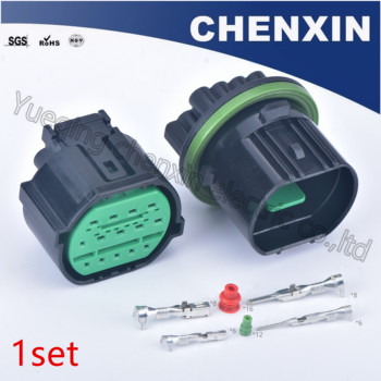 Black 14 pin car headlight plug automotive waterproof connector male female GL301-14021 K2 K3 K5 wiring harness cable connector image