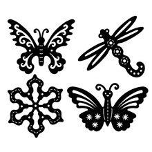 DiyArts Butterfly Dragonfly Snowflake Metal Cutting Dies for Craft Scrapbooking Embossing Stencil DIY Die Cut Card Decor