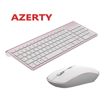Bahasa Perancis Keyboard Nirkabel 2400 Dpi Mouse 2.4 GHz Ultra-Slim Keyboard Mouse Set, portable Silent Ergonomis Azerty Layout-Pink(China)