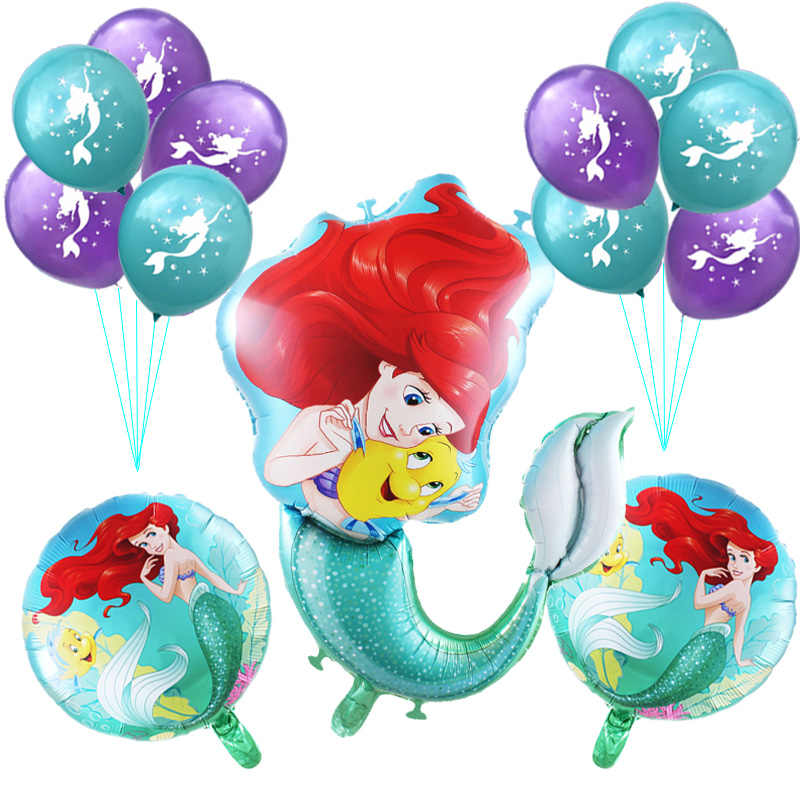 14pcs/set large cartoon Mermaid Ariel disney princess foil Balloons baby girl birthday party decorations kids 10inch latex balls