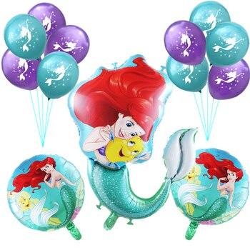 14 unids/set grande de dibujos animados de sirena Ariel princesa de lámina globos bebé niña fiesta de cumpleaños decoraciones niños bolas de látex de 10 pulgadas