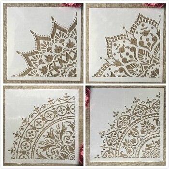 30*30cm Mandala 1/4 Wheel Round Geometry DIY Layering Stencils Painting Scrapbook Coloring Embossing Album Decorative Template