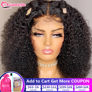 Short Afro Kinky Curly Wig 180 Density Cheap Lace Closure Human Hair Wigs with Free Shipping Brazilian Remy Hair Gabrielle