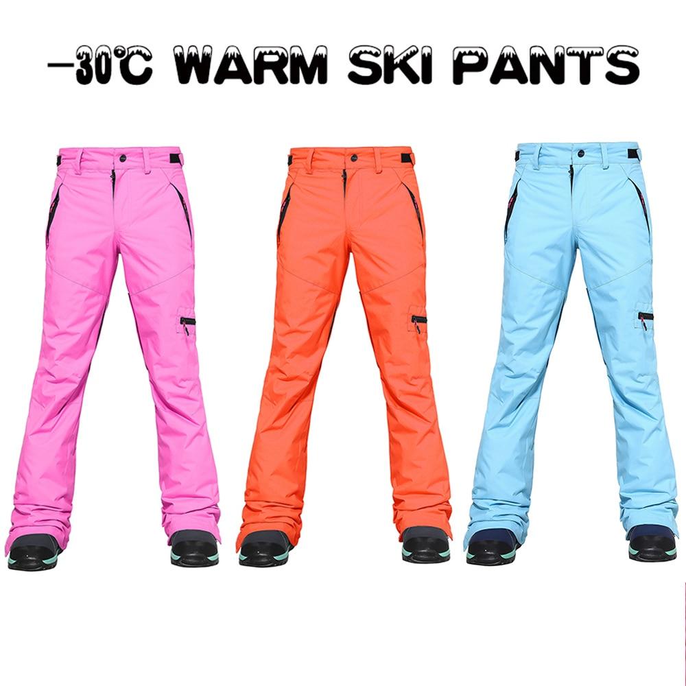 Ski Pants Women Outdoor Sports High Quality Windproof Waterproof Warm Couple Snow Sports Trousers Winter Ski Snowboard Zip Pants