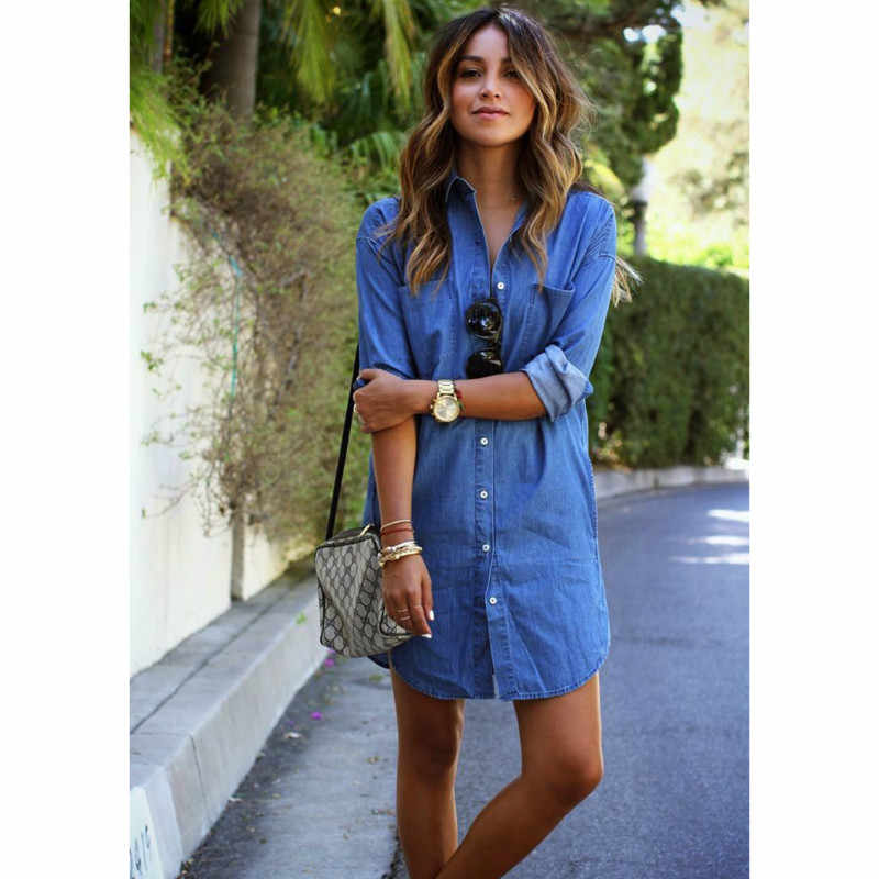 2020 donne Camicia di Jeans Blu del Tasto Del Vestito di Autunno della Molla Manica Lunga Casual Magliette E Camicette Mini Abito Camicia