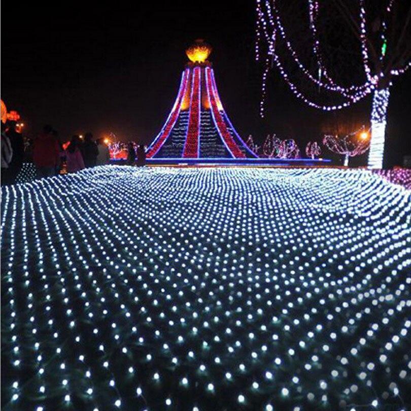2m*2m LED Net Lights Outdoor Mesh Christmas String Light Waterproof Landscape Wedding Holiday Xmas Fairy Lamp Decoration EU 220V