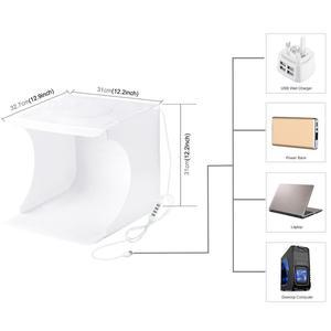 Image 5 - PULUZ 30cm Folding Portable Ring Light Photo Lighting Studio+Ring LED Panel Truntable,Tabletop Shooting Tent Box Kit 6 Backdrops