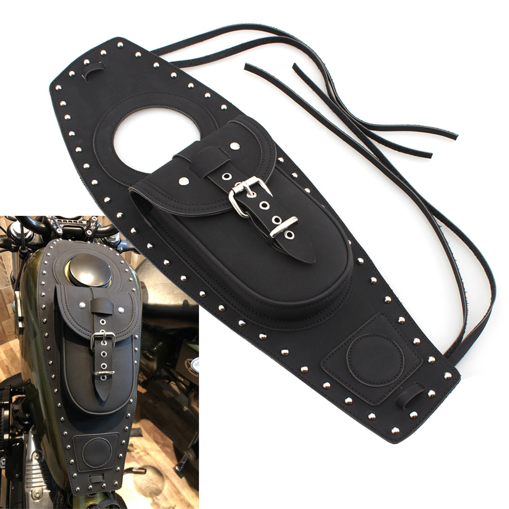 Black Leather Motorcycle Fuel Tank Bag Gas Tank Pad Cover Fits For Harley Davidson Sportster 883 1200
