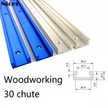 Aleación de aluminio t-track Slot Miter track Jig Fixture para Router Table bandsiws carpintería DIY herramienta longitud 300/400/500/600/800MM