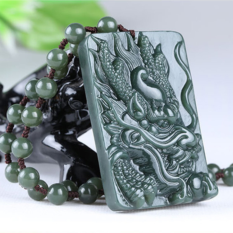 Natural Xinjiang Hetian Jade Dragons Gray Jade Dragon Pendant Sub-Men's Jade Pendant Necklace Zodiac Dragon Patterns