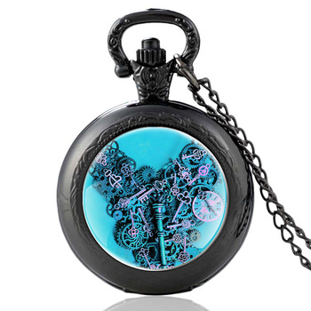 Classic Antique Black Steampunk Gear Glass Dome Punk Style Quartz Pocket Watch Charm Men Necklace Pendant Jewelry Birthday Gifts classic antique black steampunk gear glass dome punk style quartz pocket watch charm men necklace pendant jewelry birthday gifts