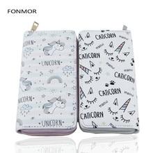 New Arrival Women Long Wallet Cartoon Unicorn Printed Wallets Female Clutch Zipper Pruses Phone Bag