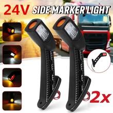 2PCS 3 Side 24V LED indicatore di direzione laterale gambo indicatore luminoso per camion rimorchio camion Carvan impermeabile