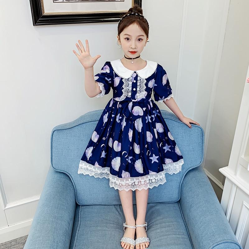 Girls Lolita Little Conch Dress 2020 Summer New Korean Fashion daily girls Short Sleeve Princess Dress sweet loli dress