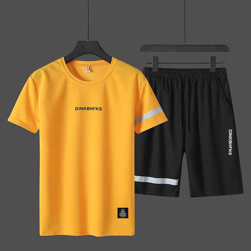 Męska 2020 lato koreański zestaw z krótkim rękawem Trend koszulka top Running 2 sztuka uprawianie sportów joggingowych okrągły kołnierz Sport garnitur