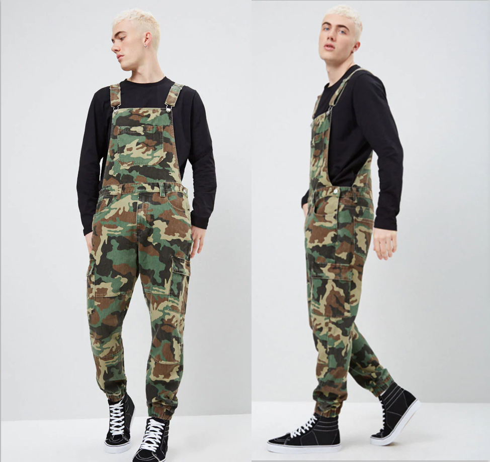 Cargo Jeans Army Men's Fashion Loose Camouflage Overall <font><b>Jumpsuit</b></font> Streetwear Pocket Suspender Pants Trousers Peto Vaquero <font><b>Hombre</b></font> image