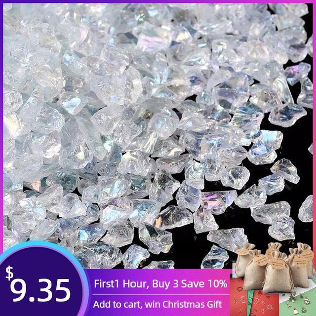 Cuentas de cristal para fabricación de joyas, cuentas de cristal transparentes de 0,5 7mm y 3mm, Chips de vidrio, cuentas de piedra naturales irregulares, collar de pulsera sin agujero