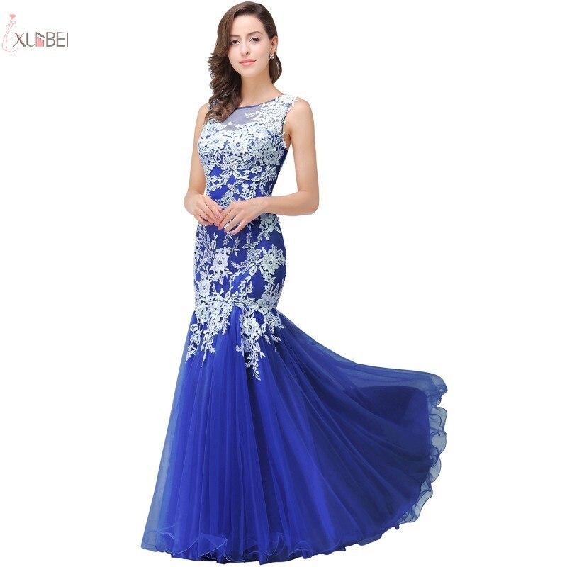 Royal Blue Long Bridesmaid Dresses 2019 Wedding Party Guest Gown Tulle Lace Applique Vestido Madrinha Robe Demoiselle D'honneur