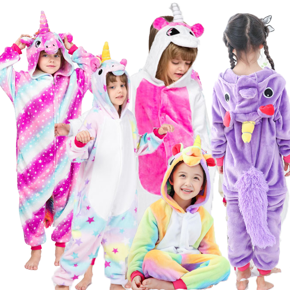 Unicorn Pajamas Onesie Sleepwear Kids Rainbow Animal Flannel Kigurumi Winter Hooded-Stitch