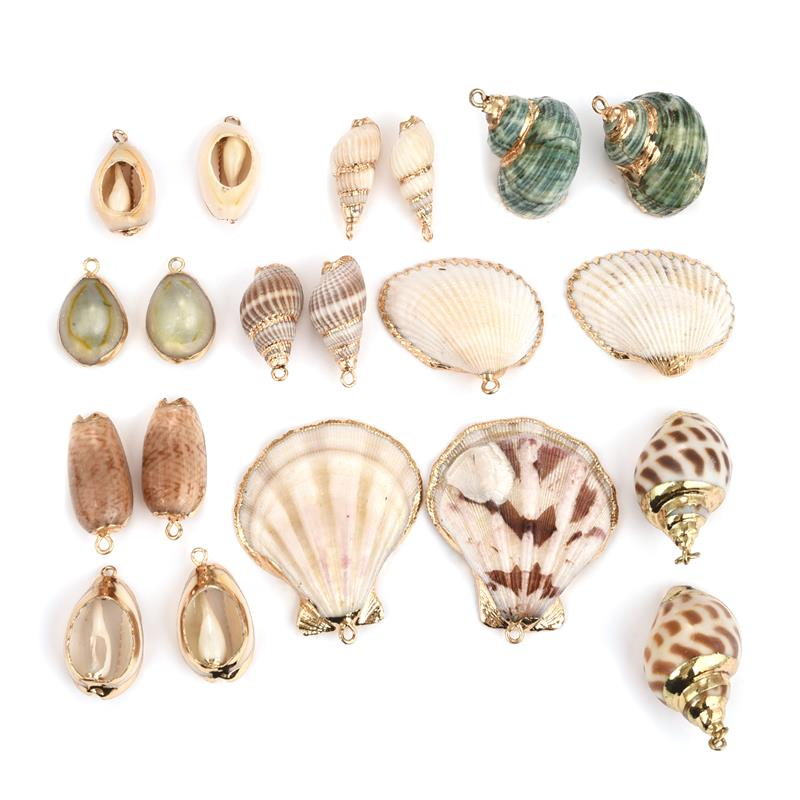 10 Pcs Golden Electroplated Conch Shell Pendants 26~52x13~23x15~17mm Hole 2mm