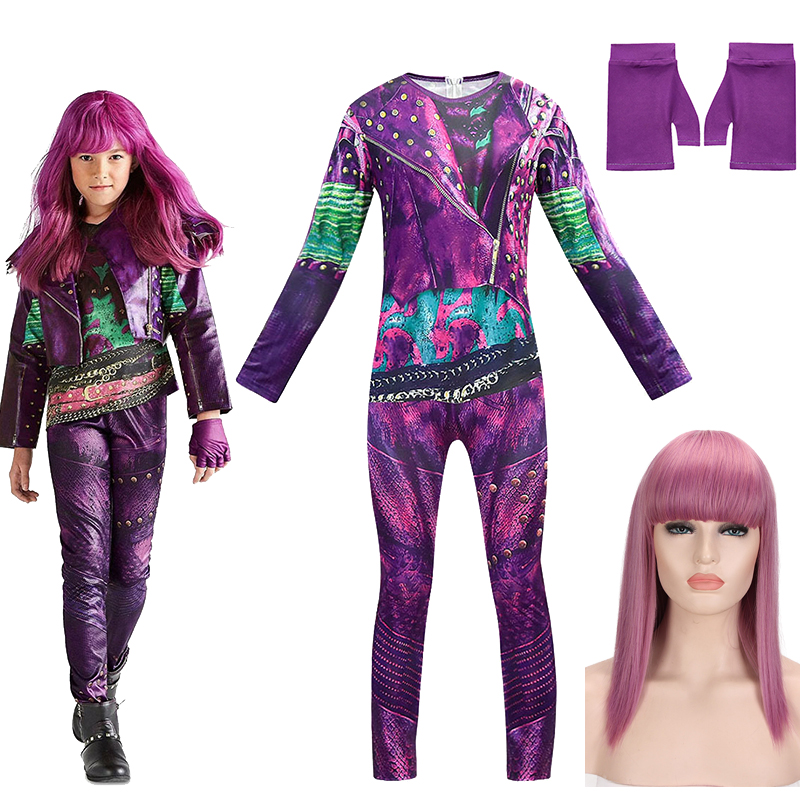 Halloween Party Performance Polyester Tights Rompers Movie Descendants 3 Mal Cosplay Costume Onesies Gloves Wig Suit