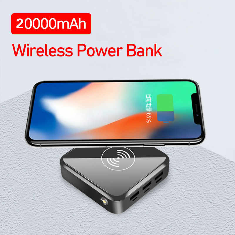 20000 MAh Wireless Mini Power Bank Triple Usb Cepat Pengisian Layar Digital LED Baterai Powerbank untuk Iphone Samsung Xiaomi