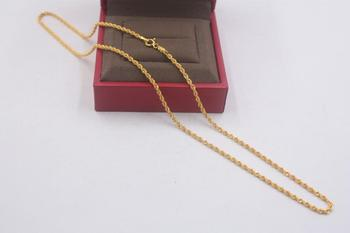 Pure 18k Yellow Gold Chain Unisex Luck 2mmW Rope Link Chain Necklace 18inches 2.61g 2