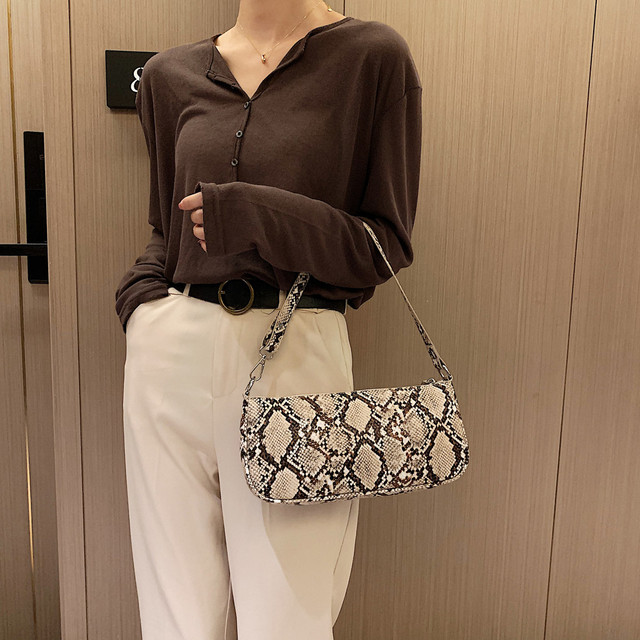 Retro Women Baguette shoulder bag handbag snake Pattern Vintage Leather crossbody bags for women 2019 Messenger Bag bolso mujer