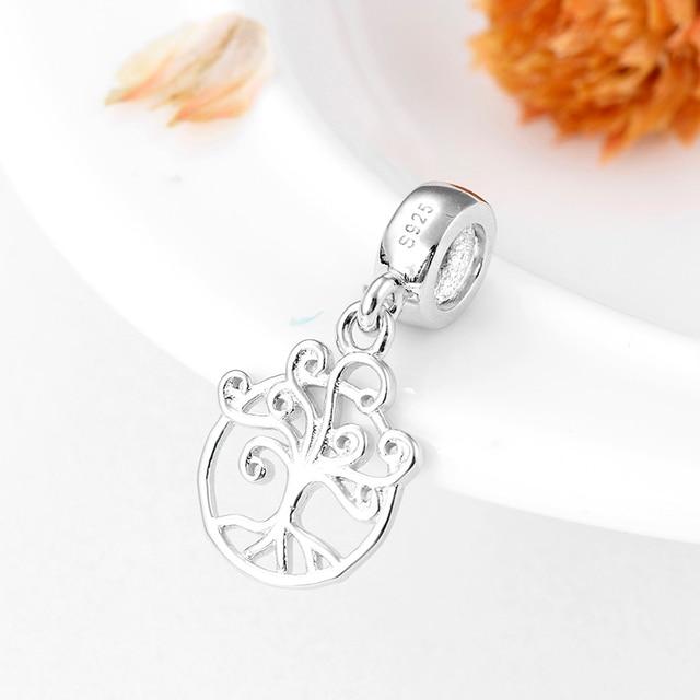 Authentique 925 argent Sterling cristal clair CZ arbre de vie pendentif amulettes flottantes adapté pour les femmes européennes Bracelets bijoux à bricoler soi-même