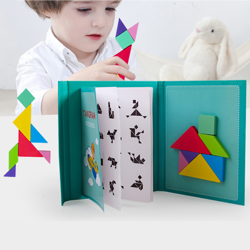 Magnetic 3D Puzzle Jigsaw Tangram Game Montessori Learning Educational Drawing Board Games Toy Gift For Children Brain Tease