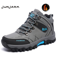 JUNJARM marka mężczyźni zimowe buty śniegowe ciepłe Super mężczyźni wysokiej jakości wodoodporne skórzane trampki Outdoor męskie buty trekingowe obuwie robocze