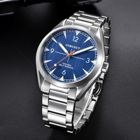 CORGEUT 41mm Automatic Men's Watch Blue Dial Brushed Case Mental Strap Round Wristwatch