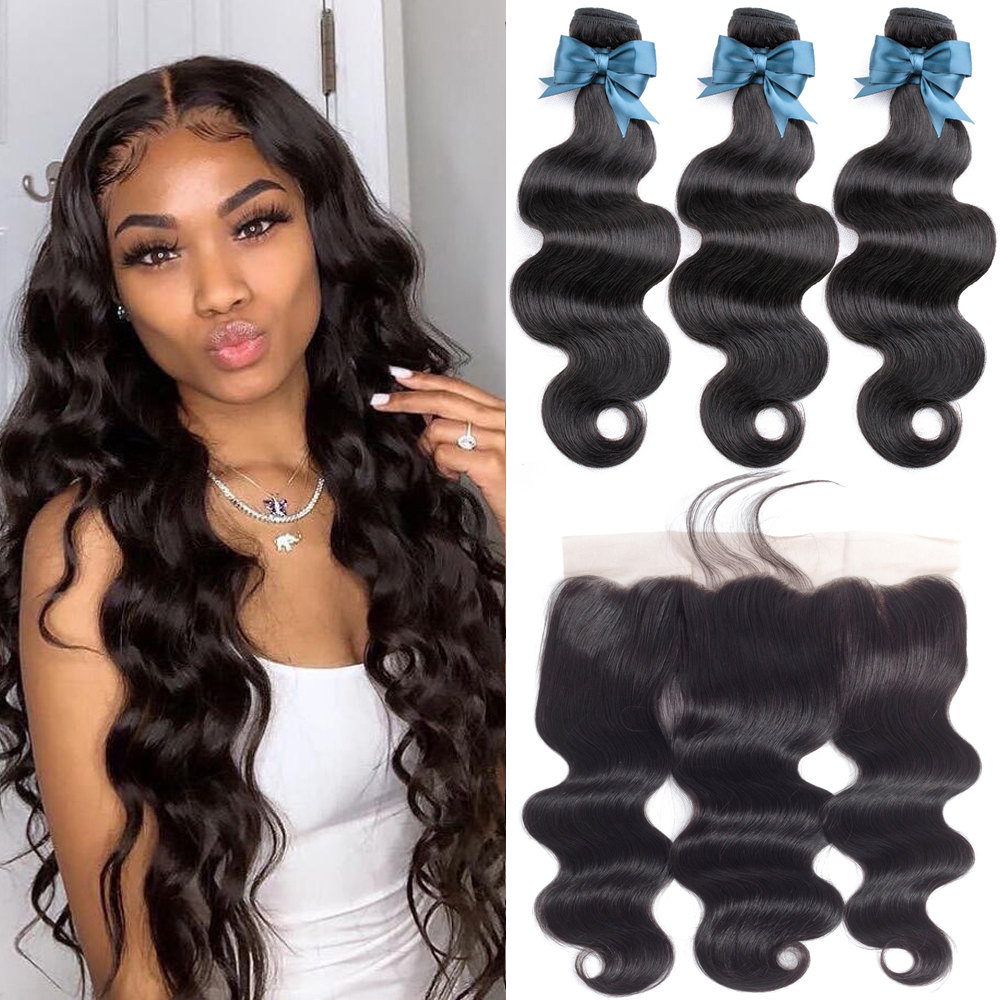 Body Wave Human Hair Bundles With Frontal Malaysian Bundles With 13*4 Lace Closure HumanHair Extension With Lace Frontal Beauhai