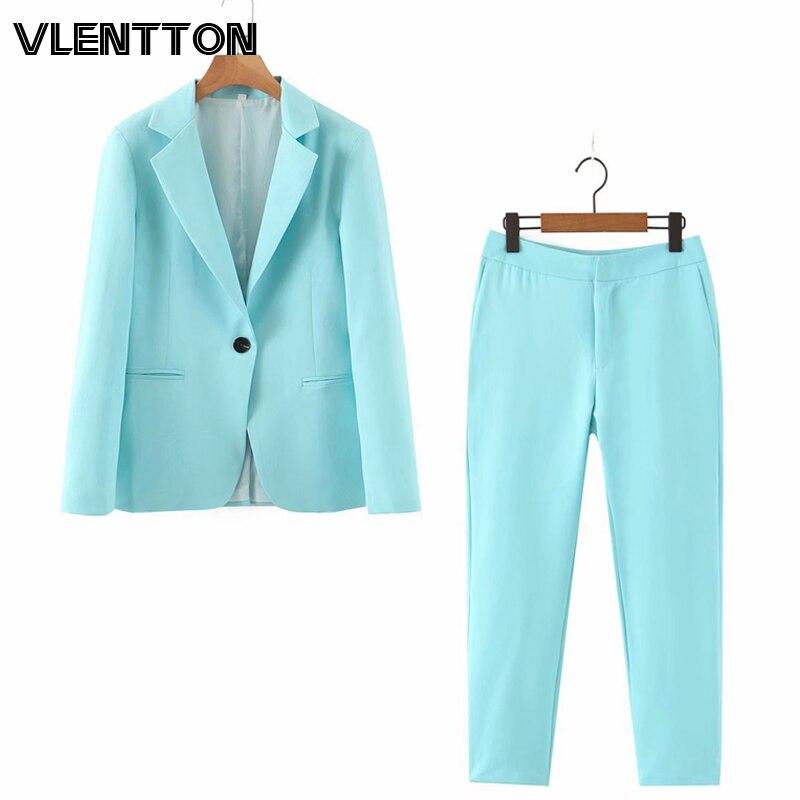 2020 Spring Autumn Purple Pink 2 Piece Set Women Single Button Office Lady Blazer Jacket Tops+Zipper Pants Suit Female Trousers