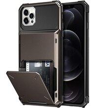 비즈니스 갑옷 슬라이드 지갑 카드 슬롯 홀더 커버 아이폰 12 미니 12 11 프로 맥스 7 8 플러스 X XS 맥스 SE 2020 케이스 전화 케이스