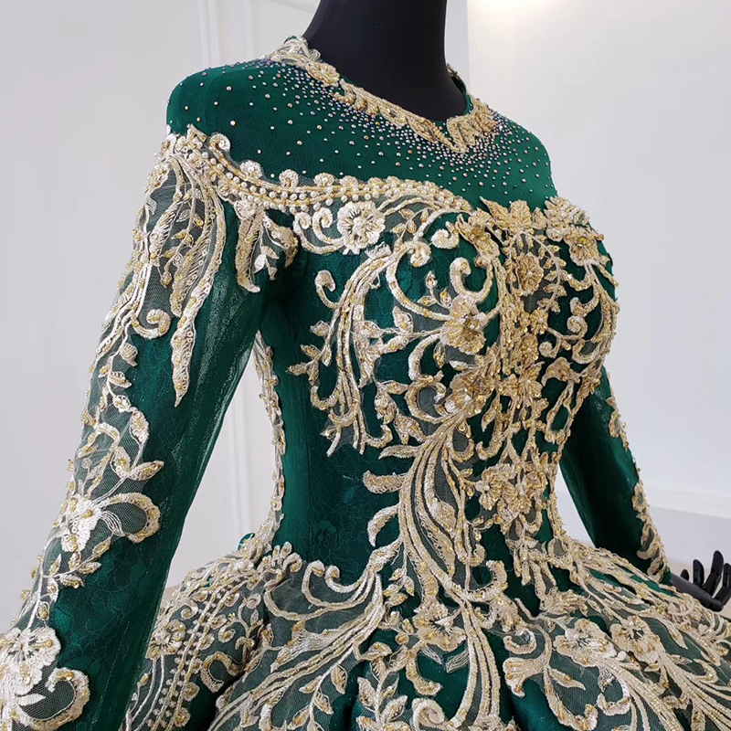 Image 5 - HTL1099 Luxury green evening dress long sleeve appliques beads ball gown lace arabic evening dress plus size vestidos elegantesEvening Dresses   -