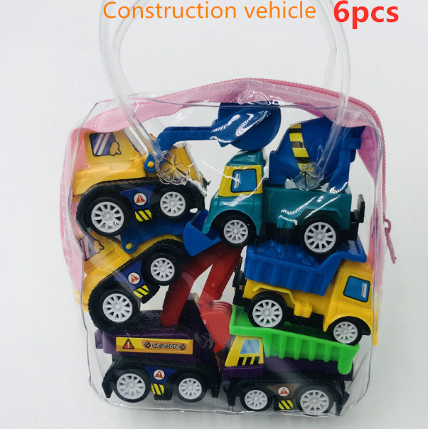 6pcs Pull Back Car Toys Mobile Machinery Shop Construction Vehicle Fire Truck Taxi Model Baby Mini Cars Gift Children Toys 2019 1