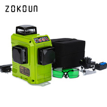Zokoun CE сертифицированный 3x360 зеленый лазерный уровень линий с батареей 5200 мАч и горизонтальными и вертикальными линиями, работающими отдельно