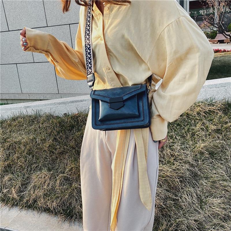 Small Square Bags For Women Messenger Bag 2021 Wide Shoulder Strap Handbag Casual Wild Lady Shoulder Bag Cross Body Female Bag