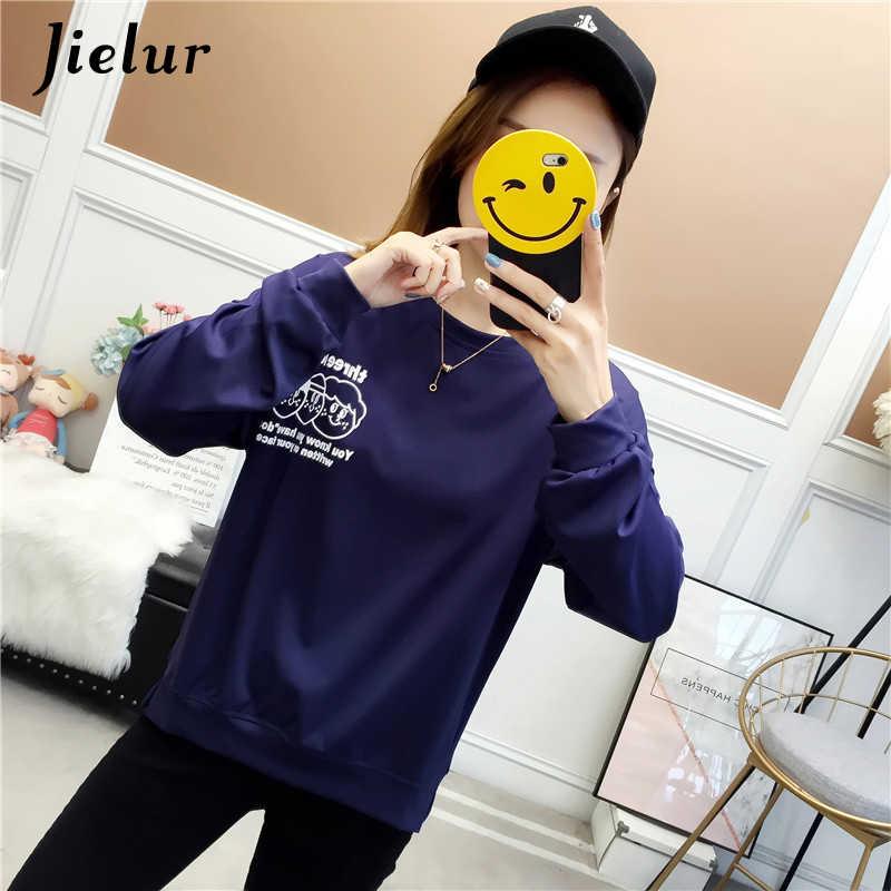 Jielur забавная женская футболка с буквенным принтом осенние свободные футболки женские пуловеры с длинными рукавами тонкая Базовая футболка-худи