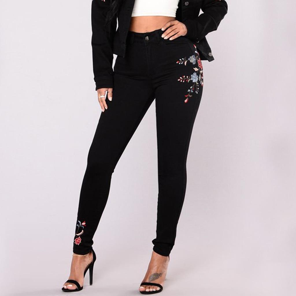 2020 Hot Fashion Women Jeans Plus Size Embroidered Jeans Denim Stretch Slim Sexy Pencil Pants джинсы женские Wd4