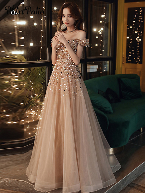 Sexy Spaghetti Straps Sparkle Prom Dresses Long 2020 V-neck A-line Floor-length Sequined Women Formal Gowns For Evening Party 1
