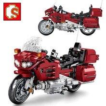 Sembo cidade velocidade da motocicleta carro de corrida de alta tecnologia motor moto blocos de construção idéia educação brinquedo para o menino brinquedo das crianças